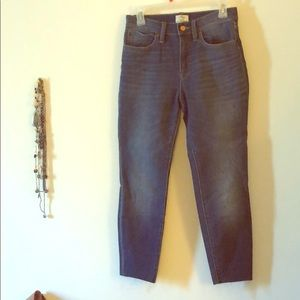 J. CREW High Rise Lookout Skinny Cut Hem Jeans